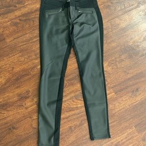 Faux leather-front pants size 2